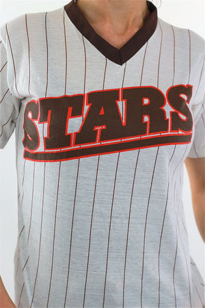 All Stars Tshirt 90s Striped baseball Ringer Tee - shabbybabe  - 4