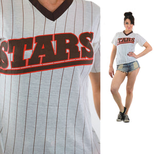 All Stars Tshirt 90s Striped baseball Ringer Tee - shabbybabe  - 2
