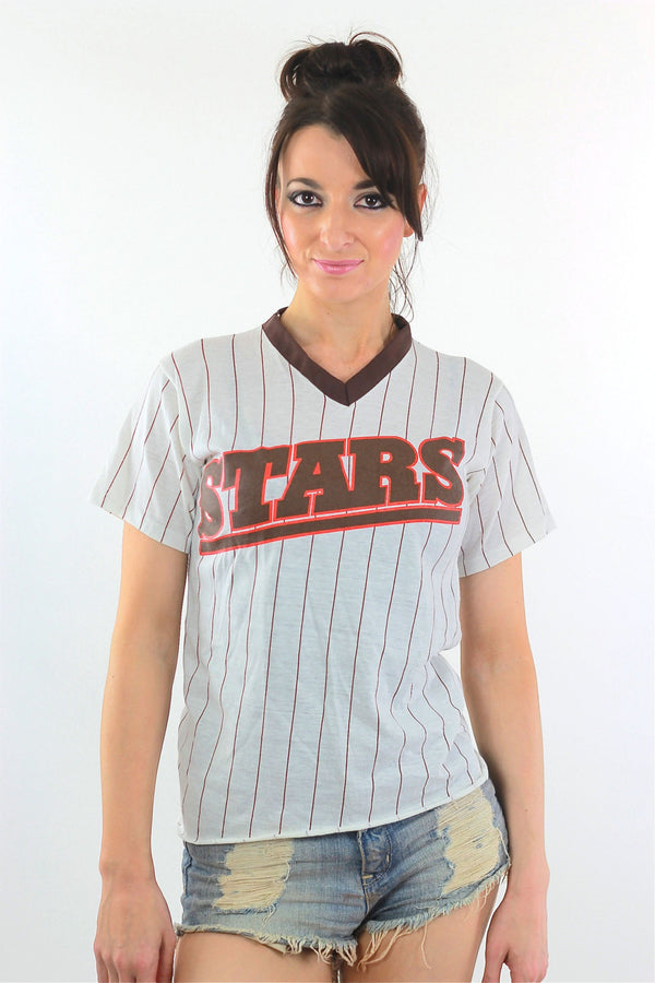 All Stars Tshirt 90s Striped baseball Ringer Tee - shabbybabe  - 1