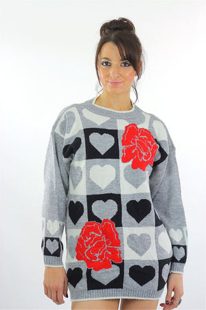 Heart sweater 80s black white Color block Graphic rose print Checkered hearts Oversized Slouchy Tunic Large - shabbybabe  - 2