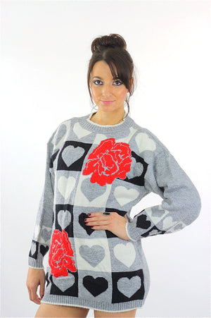 Heart sweater 80s black white Color block Graphic rose print Checkered hearts Oversized Slouchy Tunic Large - shabbybabe  - 3