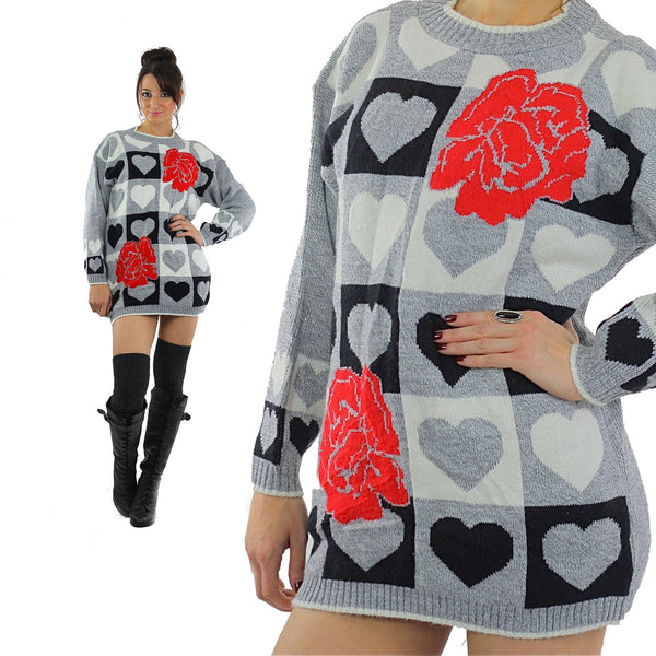 Heart sweater 80s black white Color block Graphic rose print Checkered hearts Oversized Slouchy Tunic Large - shabbybabe  - 1