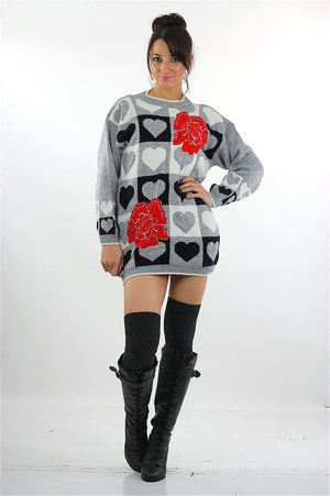 Heart sweater 80s black white Color block Graphic rose print Checkered hearts Oversized Slouchy Tunic Large - shabbybabe  - 5