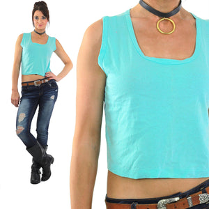 Aqua blue Crop top sleeveless cutoff tank tee retro 80s - shabbybabe  - 2