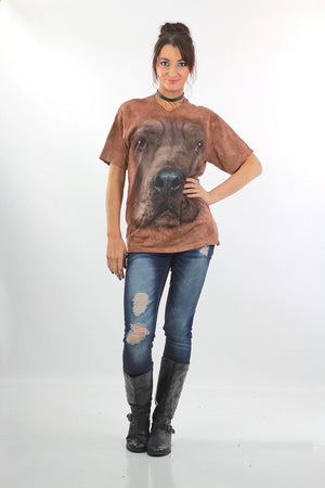 Dog shirt 80s 90s Animal T shirt Graphic Tshirt All over print on Brown tie dye shirt  M - shabbybabe  - 2