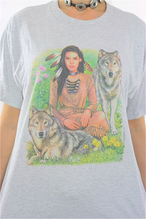 Native American shirt Wolf top Animal tee Southwestern Vintage 1990s Gray Graphic tunic Large - shabbybabe  - 3