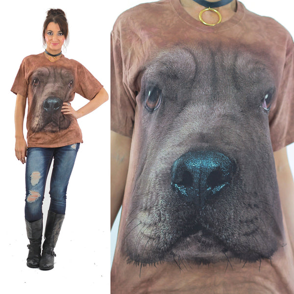 Dog shirt 80s 90s Animal T shirt Graphic Tshirt All over print on Brown tie dye shirt  M - shabbybabe  - 1