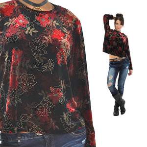 Red Velvet shirt Floral 90s grunge long sleeve top blouse Hipster gothic black 1990s slouch Party Extra Large - shabbybabe  - 1