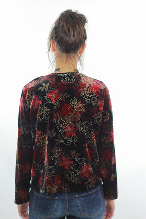 Red Velvet shirt Floral 90s grunge long sleeve top blouse Hipster gothic black 1990s slouch Party Extra Large - shabbybabe  - 4