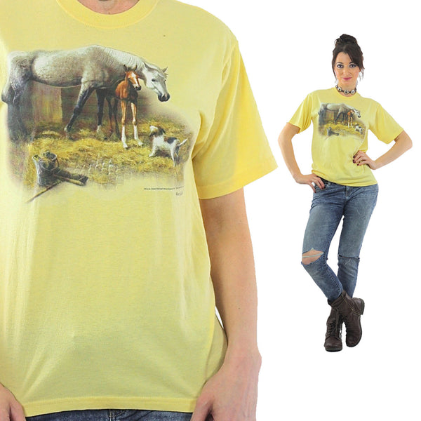 Horse Tshirt 90s pastel Yellow animal tee dog print Vintage 1990s Graphic Tshirt Retro short sleeve Large - shabbybabe  - 1