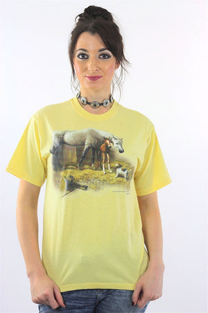 Horse Tshirt 90s pastel Yellow animal tee dog print Vintage 1990s Graphic Tshirt Retro short sleeve Large - shabbybabe  - 2