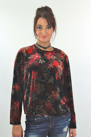 Red Velvet shirt Floral 90s grunge long sleeve top blouse Hipster gothic black 1990s slouch Party Extra Large - shabbybabe  - 2