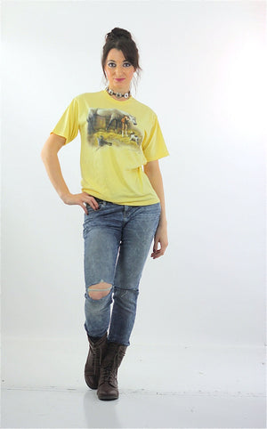 Horse Tshirt 90s pastel Yellow animal tee dog print Vintage 1990s Graphic Tshirt Retro short sleeve Large - shabbybabe  - 4