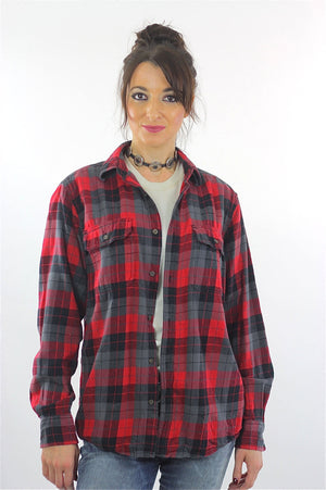 Red Flannel shirt 90s plaid Grunge Red Black Lumberjack Long sleeve Button up Checkered Small - shabbybabe  - 2