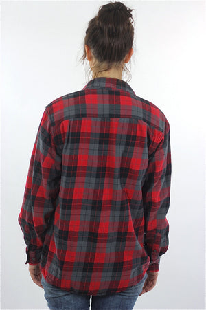 Red Flannel shirt 90s plaid Grunge Red Black Lumberjack Long sleeve Button up Checkered Small - shabbybabe  - 4