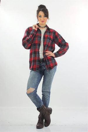 Red Flannel shirt 90s plaid Grunge Red Black Lumberjack Long sleeve Button up Checkered Small - shabbybabe  - 5