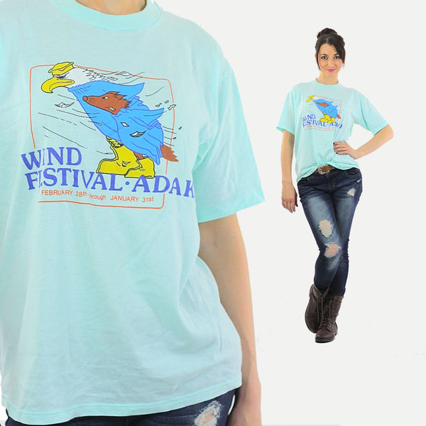 Eagle tshirt animal tee Wind Festival top graphic T shirt L - shabbybabe  - 1