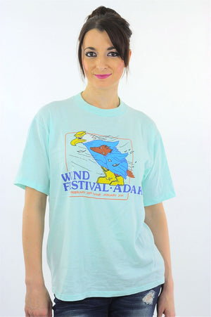 Eagle tshirt animal tee Wind Festival top graphic T shirt L - shabbybabe  - 2