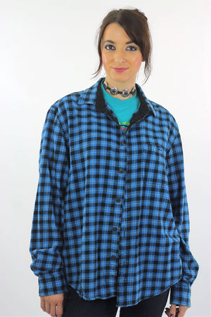 90s grunge Blue flannel shirt Lumberjack black blue checkered - shabbybabe  - 1