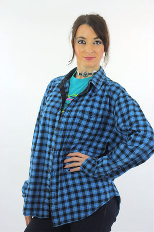 90s grunge Blue flannel shirt Lumberjack black blue checkered - shabbybabe  - 3