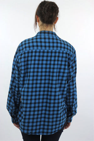 90s grunge Blue flannel shirt Lumberjack black blue checkered - shabbybabe  - 4