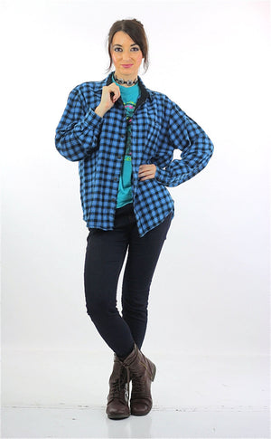 90s grunge Blue flannel shirt Lumberjack black blue checkered - shabbybabe  - 5