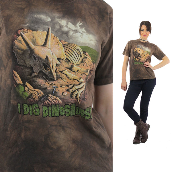 Dinosaur Shirt animal tshirt Brown oversize I Dig Dinosoars tee Retro XL - shabbybabe  - 1