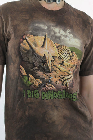 Dinosaur Shirt animal tshirt Brown oversize I Dig Dinosoars tee Retro XL - shabbybabe  - 4
