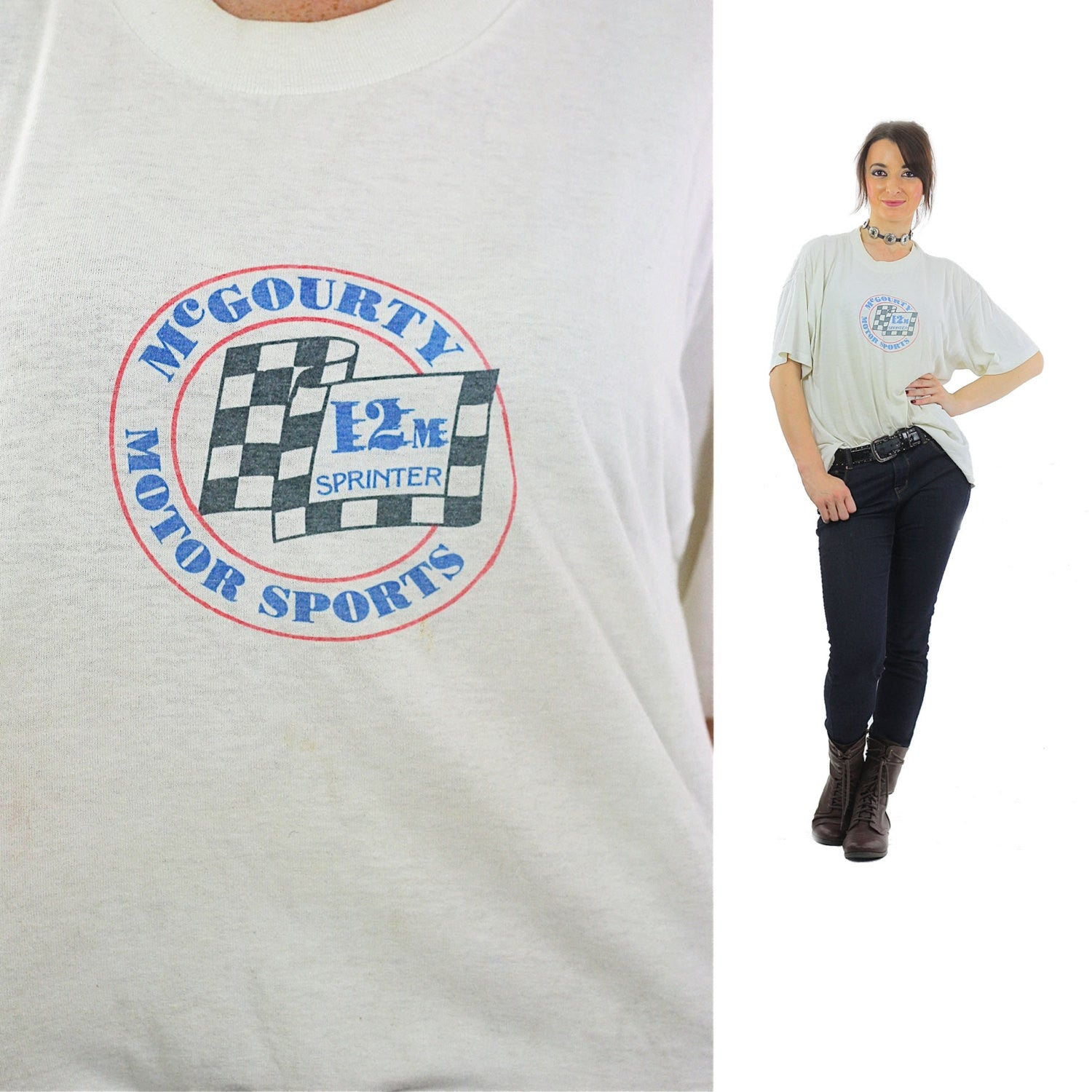 9eb02d2068 Racing tshirt retro white Motor sports tee Eat my Dirt Graphic top XL -  shabbybabe