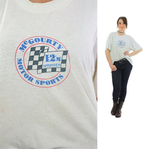 Sports shirt racing tshirt retro white Motor sports tee Eat my Dirt Graphic top 90s tshirt Thin oversize Extra Large - shabbybabe  - 1
