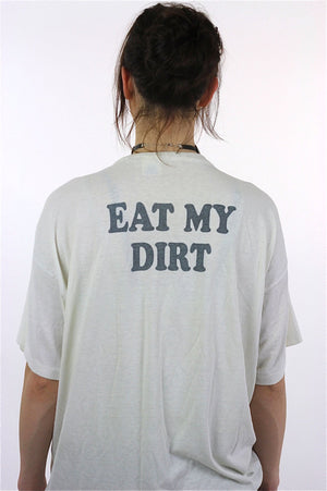 Sports shirt racing tshirt retro white Motor sports tee Eat my Dirt Graphic top 90s tshirt Thin oversize Extra Large - shabbybabe  - 5