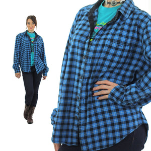 90s grunge Blue flannel shirt Lumberjack black blue checkered - shabbybabe  - 2