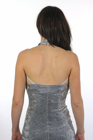 Velvet dress 90s Grunge metallic snakeskin print open back halter cut out Silver sweetheart neckline bandage body con  fishtail S Small - shabbybabe  - 5