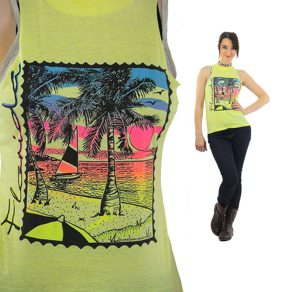 Florida shirt 90s Graphic yellow Tank top sleeveless sailboat print beach tshirt Hipster cutoff Small - shabbybabe  - 1