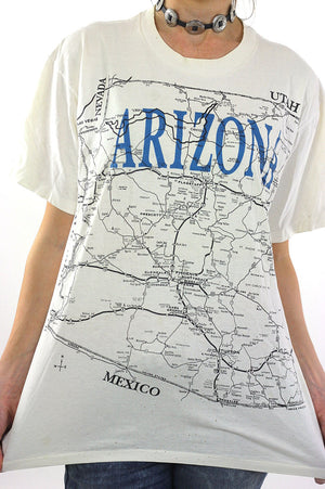 Arizona T shirt Map Tee White road map Tee shirt - shabbybabe  - 1