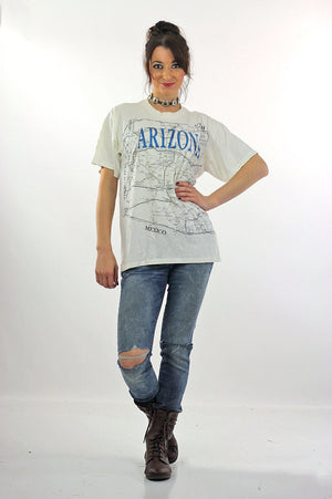 Arizona T shirt Map Tee White road map Tee shirt - shabbybabe  - 3
