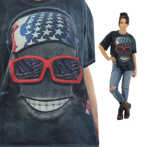 Biker sunglasses tshirt black abstract patriotic tee Large - shabbybabe  - 2