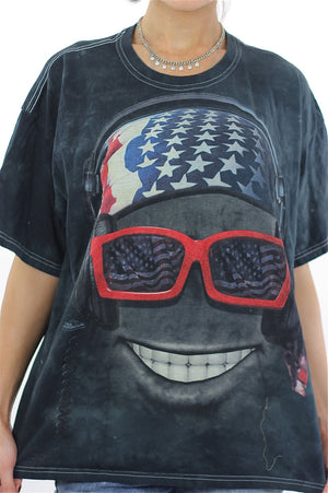 Biker sunglasses tshirt black abstract patriotic tee Large - shabbybabe  - 1