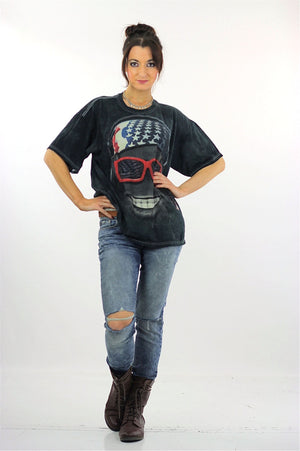 Biker sunglasses tshirt black abstract patriotic tee Large - shabbybabe  - 5