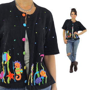 Fish sweater Embroidered appliqu̩ Vintage 80s animal abstract cardigan black short sleeve Graphic neon Large - shabbybabe  - 2