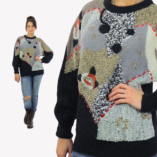Geometric sweater Slouchy Color block Gray black beaded Vintage 80s abstract retro print Oversized Large - shabbybabe  - 1
