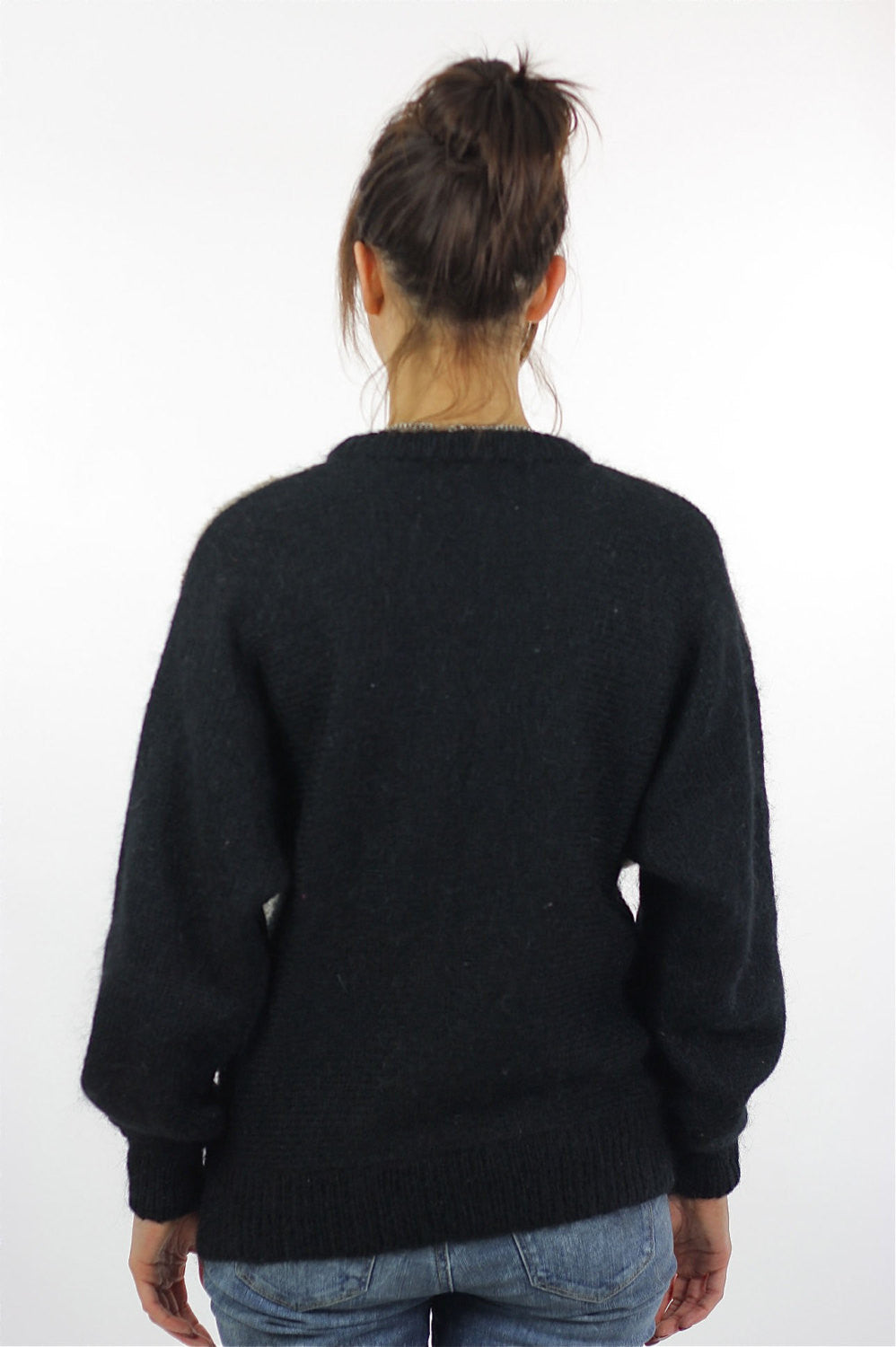 Geometric sweater Slouchy Color block Gray black beaded Vintage 80s  abstract retro print Oversized Large - 73999309a