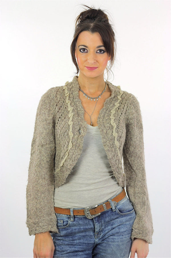 90s grunge gray Crochet sweater  Cropped bolero shrug S - shabbybabe  - 1
