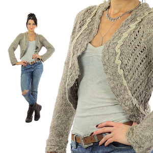 90s grunge gray Crochet sweater  Cropped bolero shrug S - shabbybabe  - 2