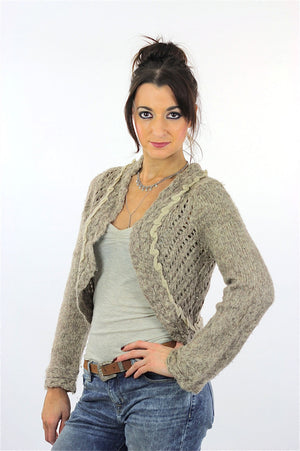 90s grunge gray Crochet sweater  Cropped bolero shrug S - shabbybabe  - 3