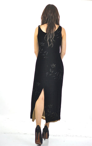 90s Black velvet burnout party maxi dress sleeveless goth Medium - shabbybabe  - 3