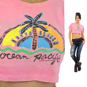90s Ocean Pacific tropical crop top shirt pink slouchy retro graphic tee M - shabbybabe  - 2