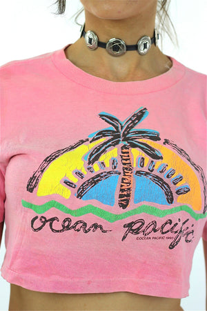 90s Ocean Pacific tropical crop top shirt pink slouchy retro graphic tee M - shabbybabe  - 4