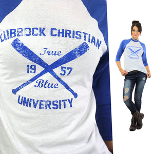 Ringer tshirt White blue baseball shirt Lubbock Christian University tee athletic tee shirt 3/4 sleeves Small - shabbybabe  - 1