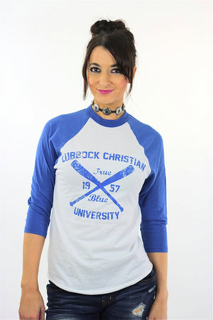 Ringer tshirt White blue baseball shirt Lubbock Christian University tee athletic tee shirt 3/4 sleeves Small - shabbybabe  - 2